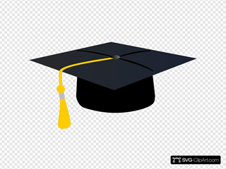Graduation Hat With Yellow Tassle SVG Clipart