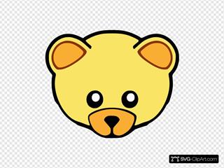 Yellow Cute Teddy Bear Face