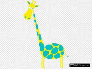 Giraffe Yellow With Teal Dots
