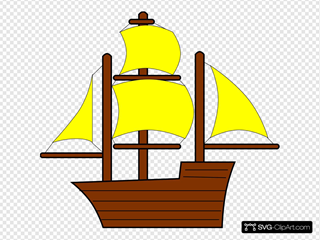 Yellow Pirate Ship SVG Clipart